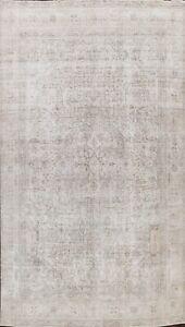 Muted Vintage Geometric Distressed Tebriz Hand-Knotted 8'x11' Oriental Area Rug