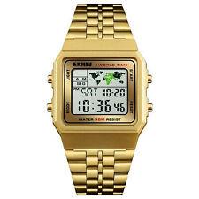 Mens Stainless Steel LED Digital Sport Quartz Waterproof Wrist Watch Gift