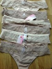 THONGS SIZE 18 M&S 6 PAIR MINK MIX WITH BEAUTIFUL EMBROIDERY ON THE FRONT NEW