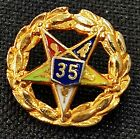 Vintage Enameled Masonic Order Of The Eastern Star 35 Year Lapel Pin