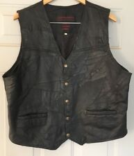 Vintage Black Leather Motorcycle Style Vest 3XL Decorative Stitching Brass Snaps