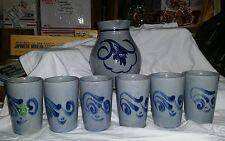 GERMAN Pottery  ☆ Gertz Pitcher ☆ 6 Cups WESTERWALDER WERTARBEIT ☆ Salt Glaze