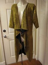 NEW LULAROE SHIRLEY GOLD EMBOSSED MAGIC CLOTH LINED KIMONO WRAP DUSTER S SMALL