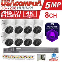 HIKVISION 5MP CCTV SYSTEM 4K-UHD DVR 8CH EXIR 20M NIGHT VISION CAMERA KIT 3TB