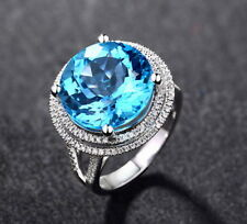 Solid 14K White Gold Natural Blue Big Topaz VS Diamond Engagement Wedding Ring