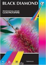 100 Sheets Black Diamond Professional Grade A3 Gloss Inkjet Photo Paper 260gsm