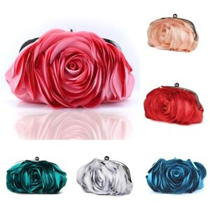 Vintage Ladies Floral Evening Bag Rose Flower Chain Hand Bag Wedding Clutches