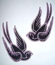 2 black pink sparrow swallow iron on patch rockabilly tattoo bird girl - 24