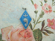 Catholic Medal Virgin Mary Holy Ghost ANNUNCIATION blue enamel silver finish