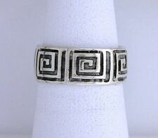 .925 Solid Sterling Silver Band Custom Casted Abstract Square Design Ring Size 6