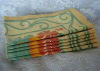 Unusual Set of 6 Yellow/Gold/Green/Coral Flower/Grapes/Fruit Print Napkins - NEW