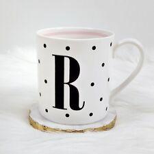"Kate Spade To the Letter ""R"" initial white mug black polka dots"