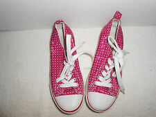 Girls Pink Sparkle Glitter Canvas Shoes Size 4 Y Bling Nice Tennis Old Navy