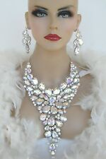 SILVER AB RHINESTONE CRYSTAL NECKLACE  EARRINGS PAGEANT DRAG QUEEN STAGE BRIDAL