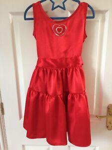 Handmade Girls Satin Red Dress Age 6-7 years Heart Motif and Ribbon Belt