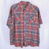 Wrangler Mens Red Short Sleeve Button Down Plaid Western Shirt Size 3XL Big
