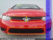 GTG, 2006 - 2008 HONDA CIVIC 2DR 3pc BLACK UPPER & BUMPER BILLET GRILLE KIT