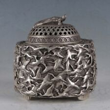 Chinese  Silvering Copper Crane Incense Burner Made By The Royal QIanlong
