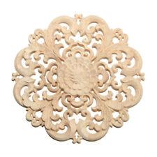 Rubber wood Carved Long Applique Unpainted Flower Walls Cabinets Door Decor O9K1