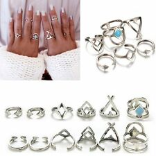 6Pcs/set Bohemian Arrow Tibetan Silver Geometry Stack Knuckle Midi Rings
