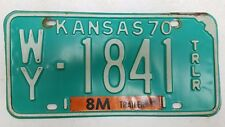 1970 KANSAS Wyandotte County 8M Trailer License Plate WY-1841