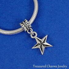 Silver NAUTICAL STAR Ocean Beach Dangle Bead CHARM fits EUROPEAN Bracelet