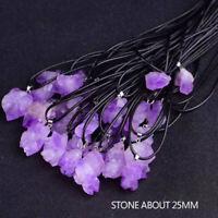 Natural Amethyst Quartz Crystal Stone Healing Pendant Necklace Chakra Jewelry
