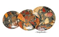 PICASSO JASPER WITH PYRITE GEMSTONE LOOSE BEADS GRADUATED SET 3 BEADS
