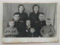 Photo Soviet Family 2 women 2 officers 4 children pioneer school vtg USSR 1957