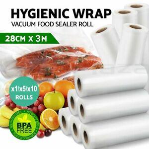 1x 5x 10x Vacuum Food Sealer Roll Bag 28cm*3M  Bag Saver Seal Storage Commercial