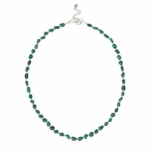 Silverly .925 Sterling Silver Green Turquoise Gemstone Bead Necklace, 42+3cm