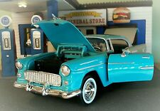 1:24 Scale G LGB 1955 Chevrolet Chevy Bel Air Hard Top Motormax Car 73229 Blue