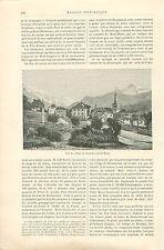 Vue de Saint-Gervais-les-Bains Savoie Mont-Blanc GRAVURE ANTIQUE OLD PRINT 1892