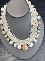 "Vtg Bohemian Necklace Multi Strand Glass White Seed Beaded 16"" Art Glass Beads"