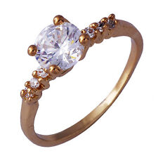 Womens Clear Crystal Wedding Punk Ring Yellow Gold Plated Size 6 Mens pinky ring