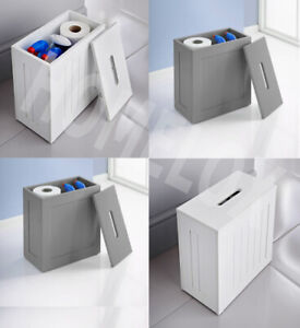 Wooden White, Grey Crisp Toilet Cleaning Product Storage Tidy Box Unit Bathroom