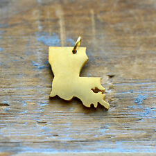 Louisiana State Charm - Brushed 24k Gold Plated Stainless Steel Pendant Minimal