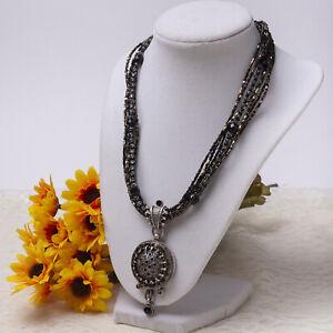 """Chico's 7 Strand Black Copper Crystal Dangle Rhinestone Pendant 20"""" Necklace"""