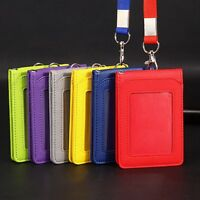 New Leather Wallet Work Office ID Badge Card Credit Holder Neck Strap Lanyard