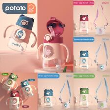 POTATO Baby Learner Sippy Cup with Straw Trainer Water Bottle with Handles Strap