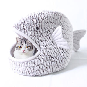Shark Cat House Dog Tent Cave/Igloo Bed Pet Kennel Puppy Warm Cushion Mat Gray