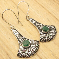 """Plated Retro Fancy Handcrafted Jewelry Simulated Emerald Art Earrings 2"""" Silver"""