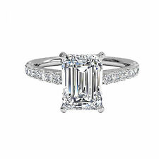 Emerald Cut 1.30 Ct Diamond Engagement Ring Solid 14K White Gold Wedding Rings