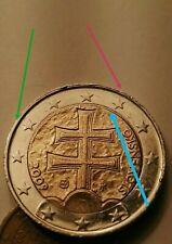 Moneta 2€ Euro SLOVENSKO 2009 Slovacchia ERRORE conio bordo sottile irregolare.