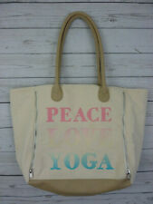 Icing Ivory Tote Canvas Workout Yoga Bag Tote  Pink Lining Peace Love Yoga