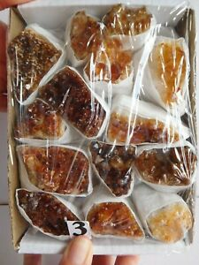 Tray Of B Grade Assorted Colour Citrine Crystal Point Druze Clusters Pieces