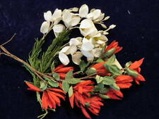 """Vintage Millinery Flower Collection 1"""" Red White German for Hat Hair Ka9d"""
