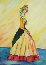 VINTAGE WATERCOLOR LADY COSTUME FASHION  WOMAN PORTRAIT  PAINTING