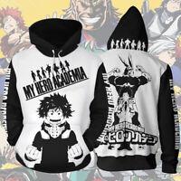 My Hero Academia 3D Print Hoodie Full-zip Jacket Sweatshirt Cosplay Costume Coat