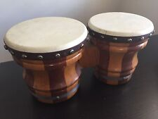 VTG ZIM GAR HAND DRUMS BONGOS CARVED WOOD LEATHER MEXICO MUSICAL INSTRUMENT